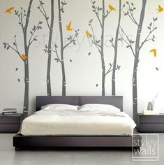 Tree wall decals Winter trees decal Birds nature Forest Trees with Birds Home Decor Set of 6 Vinyl Wall Decal Nursery Baby children Sticker Nursery Wall Decals, Vinyl Wall Decals, Bedroom Wall, Bedroom Decor, Wall Stickers, Diy Wall Painting, House Painting, Tree Wall Decor, Birch Tree Wall Decal