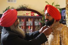 Proud father. Sikh wedding. Indian wedding. Groom getting ready