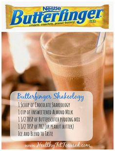 Healthy Halloween Candy Bar Shakeology Recipes: Butterfinger Shakeology-not 21 Day Fit approved but looks like a nice treat! Shakeology Shakes, Beachbody Shakeology, Herbalife Shake, Shakeology Cleanse, Halloween Candy Bar, Healthy Halloween, Protein Shake Recipes, Smoothie Recipes, Best Shakeology Recipes
