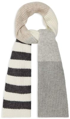 Reiss Mylee Color-Block Striped Scarf Knit Mittens, Knitted Shawls, Crochet Scarves, Knit Crochet, Striped Scarves, Striped Knit, Arm Knitting Tutorial, Mens Fashion Sweaters, Diy Scarf