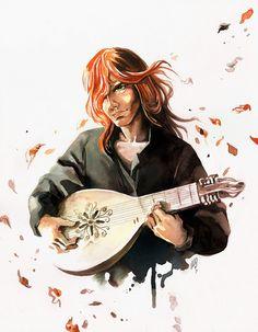 El nombre del viento, Patrick Rothfuss: La matrioska de la fantasía. Kvothe, el gran embaucador. Ilustración realizada por María Emegé, para Fabulantes - http://www.fabulantes.com/2012/02/el-nombre-del-viento-patrick-rothfuss/#.VCHS1vl_vfI