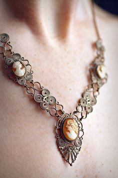 Delicate Antique Cameo Necklace by emshandmadelovelies on Etsy, $69.99