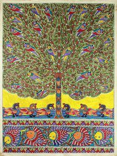 Madhubani painting, 'One with Nature I' - Traditional Madhubani Folk Art Painting Indian Artwork, Indian Art Paintings, Indian Folk Art, Original Paintings, Madhubani Art, Madhubani Painting, Traditional Paintings, Traditional Art, Art Folder