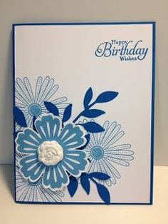handmade birihday card from My Creative Corner!: A Mixed Bunch Birthday ... blue and white ... luv the combination of stamped  and punched elements to form the corner focal point posy ... Stampin'Up!