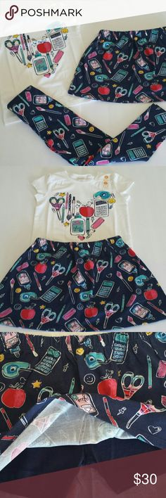 NWT - Gymboree Girls Size 5 3-Piece Matching Set Sweet mix and match 3 piece set, includes girls size 5,  leggings, skort and shirt all with the same school supplies print! So adorable! Made by Gymboree, leggings: 95% cotton, 5% spandex; skort and shirt 100% cotton, machine wash cold, inside-out, gentle cycle, tumble dry low, cool iron if needed. Perfect little set for 1st day Kindergarten or 1st grade!! :) Gymboree Matching Sets