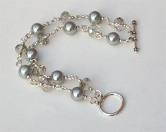 Two Strand Bracelet with 1mm wire, double strand clasp, grey glass rondelles, 8mm silver acrylic pearls #JewelryIdeas