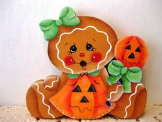 HP Halloween Gingerbread Pumpkin girl Shelf Sitter hand painted USA