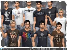 14 GAME OF THRONES Shirts in 1 file.  Found in TSR Category 'Sims 4 Male Everyday'