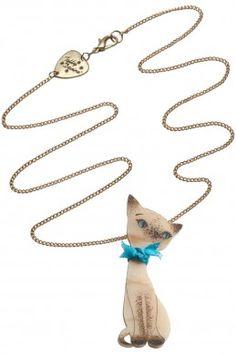 Tatty Devine Siamese Cat Necklace - Ivory of Gypsy Jewelry, Cat Jewelry, Jewelry Accessories, Jewellery, Cat Necklace, Pendant Necklace, Tatty Devine, Lady And The Tramp, Animal Fashion