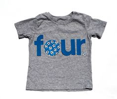 four Birthday 4th Birthday Soccer Theme Fabric Iron On Appliques by onceuponadesign.etsy.com