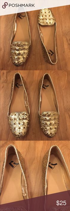 Report Gold Studded Flats These are in good condition. Only wear is on the bottom of the shoe. Perfect for the up and coming holidays such as New Years! Appears to be no missing studs or sequins. Report Shoes Flats & Loafers