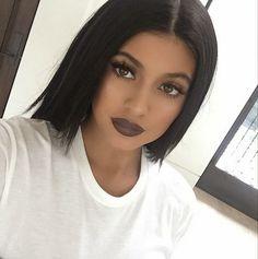 Kylie Jenner wearing bold matte brown lipstick