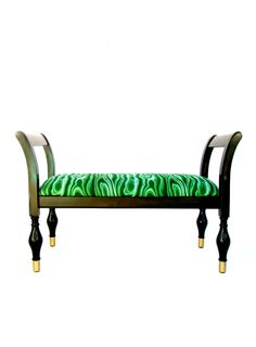 Malachite & Gloss Black Bench / Settee || Modern Glam Seating by ElectricMarigold on Etsy