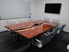 Custom Made Conference Table Live Edge Custom Fundarborð - Conference table signs