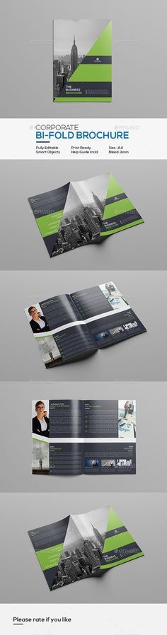 Corporate Bifold Brochure Template - #Corporate #Bi-Fold #BiFold #Brochure #Template #Design. Download here: https://graphicriver.net/item/corporate-bifold-brochure/19518015?ref=yinkira