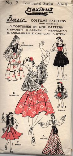 Dazians 7 Girls Costume Pattern Dance Spanish Gypsy Castilian Continental Childs Vintage Sewing Pattern Size 8 Breast 26 FF Girls Dance Costumes, Burlesque Costumes, Dance Outfits, Burlesque Outfit, Spanish Costume, Spanish Gypsy, Vintage Halloween Decorations, Moda Vintage, Costume Patterns