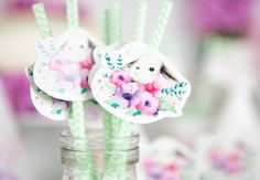 Floral + Bunny Birthday Party via Kara's Party Ideas   The Place for All Things Party! KarasPartyIdeas.com (6)