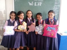 class 7 th girls are showing their activity sample,best perfomance ,nice creation by sudha miss . #teacher #perfomance #art #activities #best