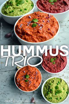 Easy recipes for delicious hummus that is flavoured with caramelised roasted red peppers, beetroot cumin and minted peas. via # Easy Recipes healthy Easy recipes for delicious hummus - peppers, beetroot & pea Healthy Hummus Recipe, Healthy Recipe Videos, Healthy Dinner Recipes, Healthy Snacks, Vegetarian Recipes, Healthy Eating, Easy Recipes, Vegan Hummus, Hummus Flavors