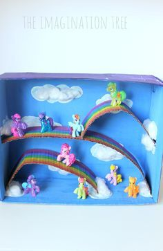 Make a DIY My Little Pony small world play scene in a cardboard box for hours of magical, imaginative play for your little ones, for just pennies