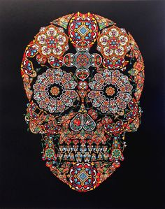 Stained Glass Skull, Nov 2013.  Jacku Tsai - 6 colour screenprint edition of 60. 110 x 85 cm and available on eyestorm.com