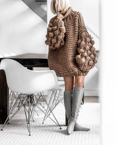 You and I Long Lantern Sleeve Chunky Texture Oversized Pattern Mock Neck Pullover Sweater - 4 Colors Available - Sold Out Knitwear Fashion, Knit Fashion, Womens Fashion, Knitting Designs, Knitting Patterns, Crochet Patterns, High Collar, Sweater Weather, Pulls