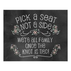 Charming Chalkboard Wedding Sign-Pick A Seat PEACH