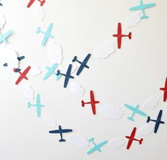 Paper Garland - Airplanes - Red White & Blue>>>>Like our pins? Come visit our Facebook page >> the LEFT SEAT WEST, an AVITATION THEMED restaurant in Glendale, Arizona, and tell your ARIZONA FRIENDS TO VISIT THE RESTAURANT! http://www.facebook.com/pages/Left-Seat-West-Restaurant/192309664138462