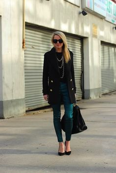 metallic pants paired with simple black pieces