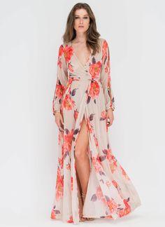 b9b5212dde9e Bloom Service Sheer Wrap Maxi Dress NAVY NUDE - GoJane.com