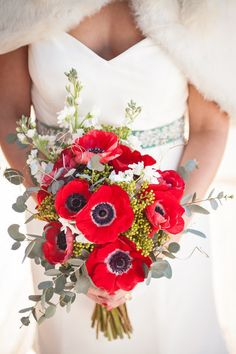 anemone and eucalyptus bridal bouquet— add hops? Poppy Wedding Bouquets, Poppy Flower Bouquet, Bride Bouquets, Wedding Flowers, Anemone Wedding, Wedding Dresses, Red Anemone, Anemone Bouquet, Anemones