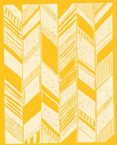 yellow and white herringbone print