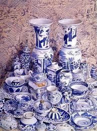 Blue and white china. Painting by Kaffe Fassett
