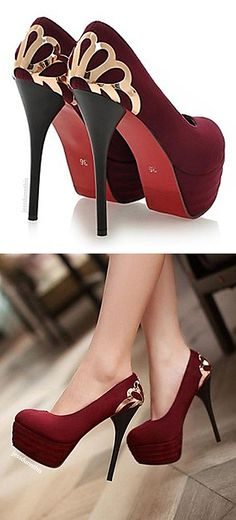 Deco heels - Marsala Pantone Color of the Year 2015 shoes! http://www.luxaddiction.com