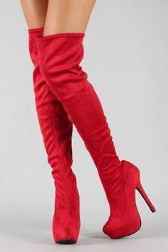 £49.99  Shoehorne Oscar08 - Womens Head Turning Red Suede Over Knee/thigh High Stretch slouch Almond toe Platform heel Stiletto Boots - Avail in Ladies Size 3-8 UK: Amazon.co.uk: Shoes & Accessories