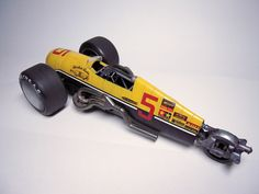 Scale model racer titled Sonic Yellow. #dieselpunk #racer #scalemodel