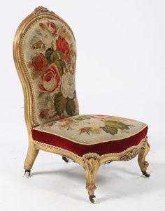 A French Louis XV Style Giltwood Carved Boudoir Chair Having Needlepoint  Seat And Back Raised On Shaped Legs Circa Ht: Width: Depth: