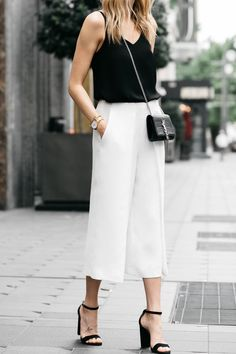 Fashion Jackson, Dallas Blogger, Fashion Blogger, Street Style, Topshop Black Cami Tanktop, White Culottes, Saint Laurent Monogram Cassandre Crossbody Handbag, Steve Madden Carrson Black Ankle Strap Heeled Sandals