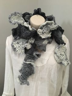 Unique crochet scarf, neck warmer in shades of grey. Measures approx Any questions please do not hesitate to ask. Crochet Beanie, Crochet Hats, Black Crochet Dress, Freeform Crochet, Burlap Wreath, Womens Scarves, Headbands, Etsy, Trending Outfits