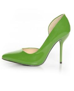 5a723e82a1b Fahrenheit Zara 01 Green Patent Pointed D Orsay Pumps (wear with What a  Gallica