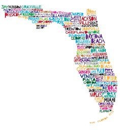 Uh, Hello, Macclenny isn't on there!  FLORIDA Digital illustration Print of Florida with by mollymattin, via Etsy.