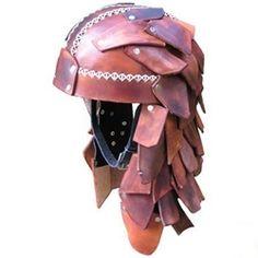 Scaled leather helmet Friend Costumes, Motorcycle Events, Viking Reenactment, Larp Armor, Viking Helmet, Leather Armor, Renaissance Clothing, Body Mods, Headgear