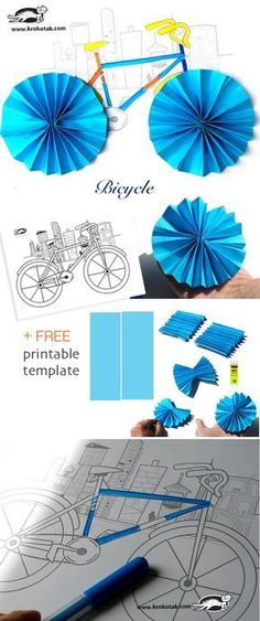 This paper craft bicycle DIY is perfect for Father's Day or any day you want to show dad you love him and keep the kid. Bicycle Crafts, Bike Craft, Kids Bicycle, Bicycle Art, Classroom Themes, Classroom Activities, Activities For Kids, Origami, Paper Crafts For Kids