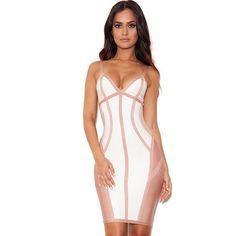 White And Nude Strappy Illusion Sleeveless Bandage Dress LAVELIQ SALE