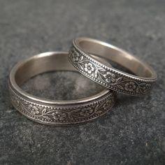 Wedding Band Set - Floral Wedding Rings in 14k White Gold