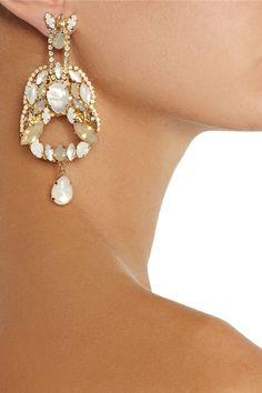 Erickson Beamon Whiter Shade of Pale gold-plated Swarovski crystal earrings NET-A-PORTER.COM