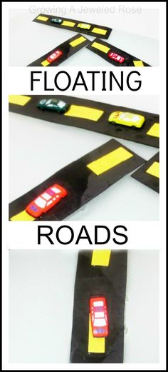 Easy to make floating roads for the bath and pool- add a few matchbox cars for tons of simple fun.  My kids LOVE these!