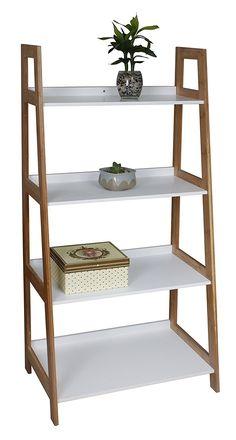 Aspect 4-Tier Wooden/Bamboo Storage Ladder/Wall Shelf/Ladder Book Shelf, 62 x 40 x 129 cm: Amazon.co.uk: Kitchen & Home