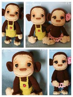 Diy Doll Pattern, Crochet Monkey Pattern, Free Pattern, Crochet Patterns, Crochet Animals, Crochet Toys, Free Crochet, Knit Crochet, Monkey Doll