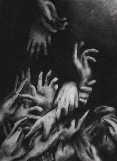 art trippy Black and White creepy weird hands dark strange surrealism surreal bizarre Surreal Art